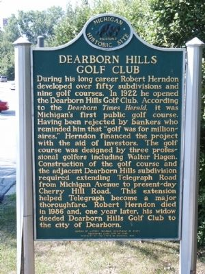 Dearborn Hills Golf Club Marker image. Click for full size.
