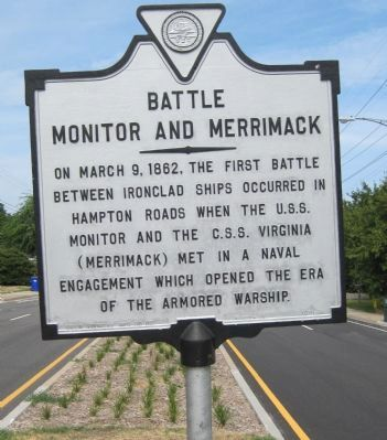 Battle, <i>Monitor</i> and <i>Merrimack</i> Marker image. Click for full size.