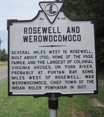 Rosewell and Werowocomoco Marker image. Click for full size.