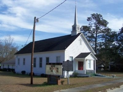 Tillman Baptist Church and Marker image. Click for full size.