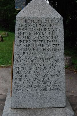 Beginning Point of the U. S. Public Land Survey Marker - West Side - Ohio image. Click for full size.