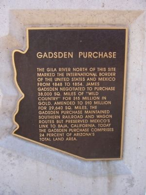 Gadsden Purchase Marker image. Click for full size.