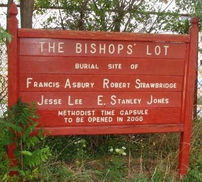 Sign Marking Bishops' Lot and Time Capsule image. Click for full size.