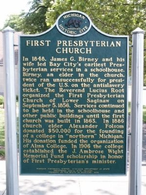First Presbyterian Church Marker - Side 1 image. Click for full size.