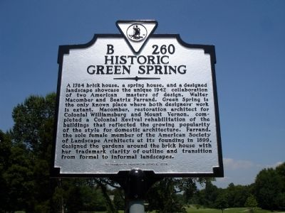 Historic Green Spring Marker image. Click for full size.