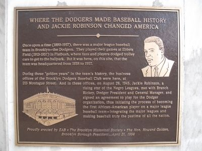 Where the Dodgers Made Baseball History and Jackie Robinson Changed America Marker image. Click for full size.