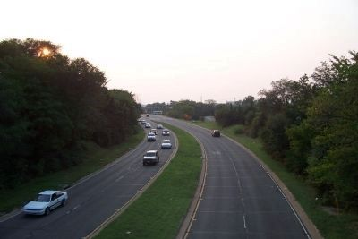 View toward downtown Washington from the Suitland Parkway-MLK Ave overpass, southeast of the marker. image. Click for full size.