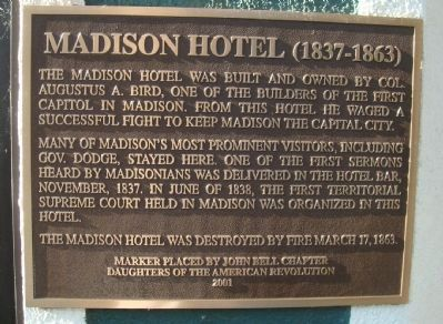 Madison Hotel Marker image. Click for full size.