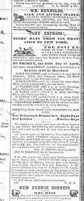Pony Express Ad (Sacramento Union, May 21, 1860, p. 4) image. Click for full size.