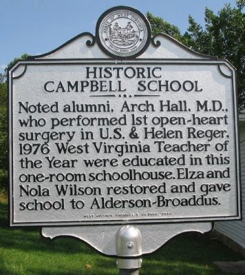 Historic Campbell School Marker (Back) image. Click for full size.