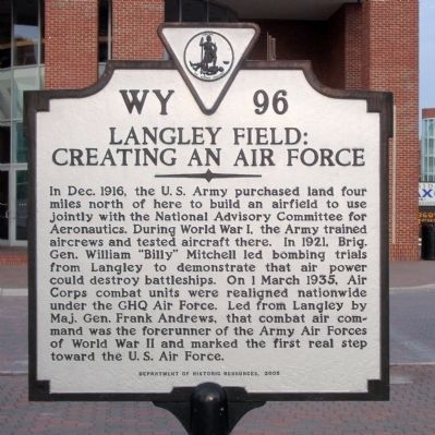 Langley Field: Creating an Air Force Marker image. Click for full size.