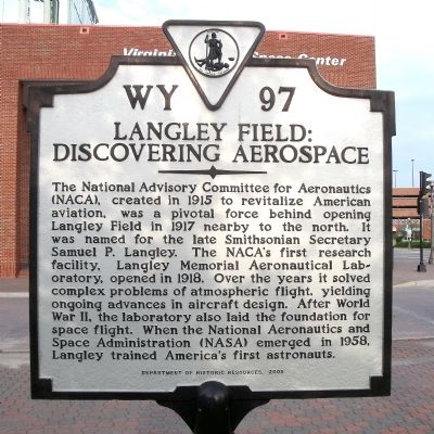Langley Field: Discovering Aerospace Marker image. Click for full size.