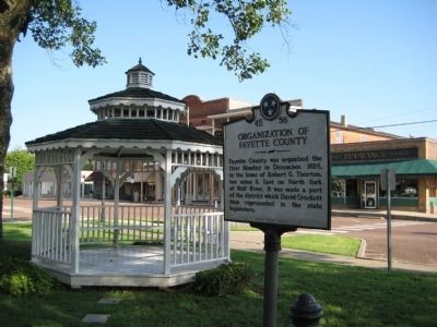 Marker and gazebo on W. Court Square image. Click for full size.