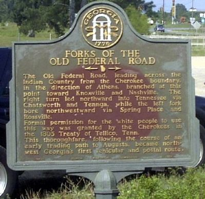 Forks of the Old Federal Road Marker image. Click for full size.