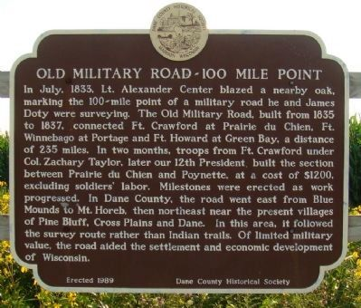 Old Military Road - 100 Mile Point Marker image. Click for full size.