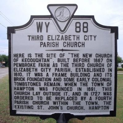 Third Elizabeth City Parish Church Marker image. Click for full size.