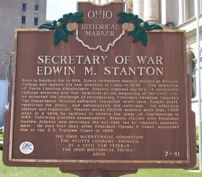 Secretary of War Edwin M. Stanton Marker image. Click for full size.