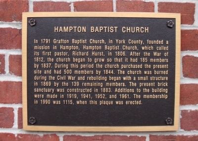 Hampton Baptist Church Marker image. Click for full size.