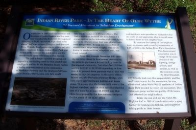 Indian River Park – In The Heart Of Olde Wythe Marker image. Click for full size.