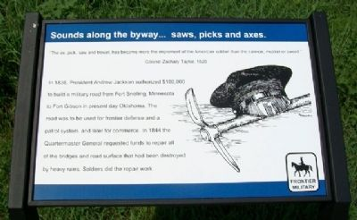 Sounds along the byway...saws, picks and axes. Marker image. Click for full size.