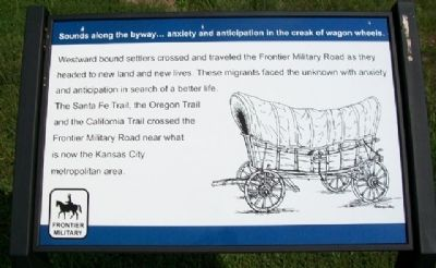 Sounds along the byway...anxiety and anticipation in the creak of wagon wheels. Marker image. Click for full size.