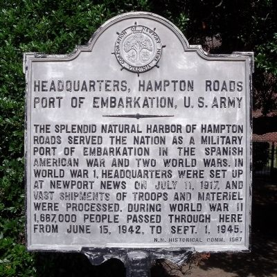 Headquarters, Hampton Roads Port of Embarkation, U. S. Army Marker image. Click for full size.