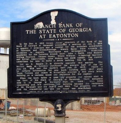 Branch Bank of the State of Georgia at Eatonton Marker image. Click for full size.