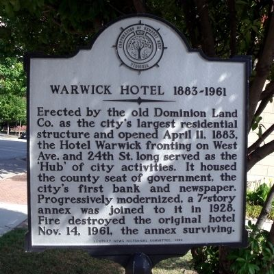 Warwick Hotel 1883-1961 Marker image. Click for full size.