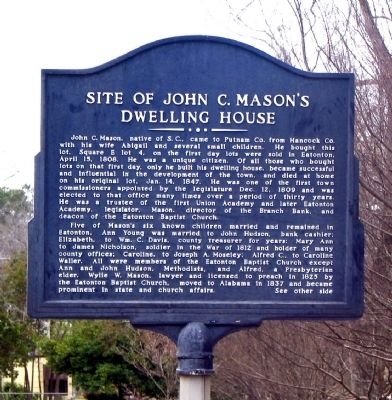 Side 1: Site of John C. Mason's Dwelling House Marker image. Click for full size.