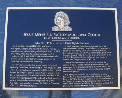 Jessie Menifield Rattley Municipal Center Marker image. Click for full size.