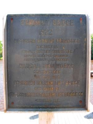 Fremont Bridge 1922 Plaque image. Click for full size.