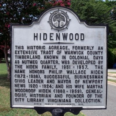 Hidenwood Marker image. Click for full size.