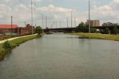 Augusta Canal, at the 15th Street Bridge, the drowning site image. Click for full size.