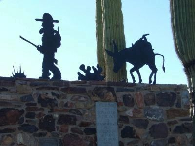 Sculpture on the Top of the Lost Dutchman Monument image. Click for full size.