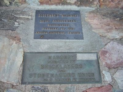 Plaques at base of Lost Dutchman Monument image. Click for full size.
