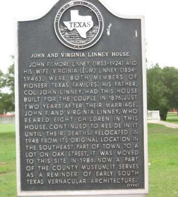 John and Virginia Linney House Marker image. Click for full size.