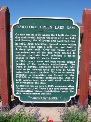 Dartford–Green Lake Dam Marker image. Click for full size.