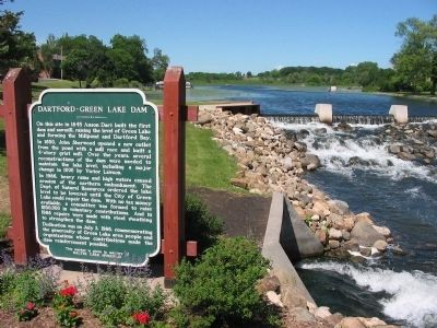 Dartford–Green Lake Dam and Marker image. Click for full size.
