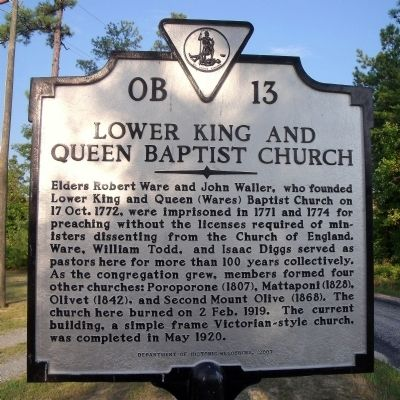 Lower King and Queen Baptist Church Marker image. Click for full size.