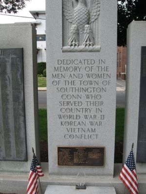 Southington World War II – Korean war – Vietnam Conflict Monument image. Click for full size.
