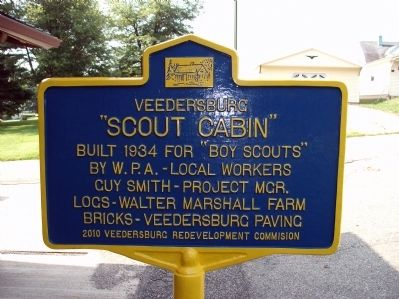 "Obverse View - - Veedersburg "" Scout Cabin "" Marker image. Click for full size."