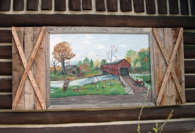 "Front of Veedersburg "" Scout Cabin "" - - Mural image. Click for full size."
