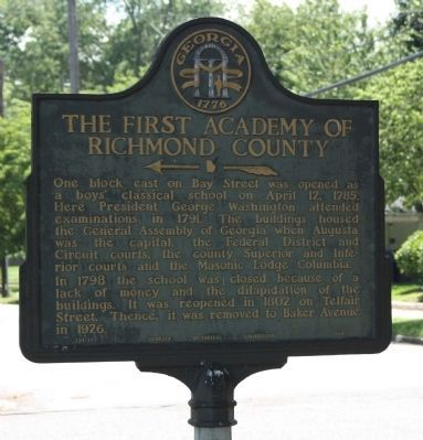 The First Academy of Richmond County Marker image. Click for full size.