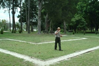 Park Ranger Explaining the Foundation Lines of the George Washington Birthplace House image. Click for full size.