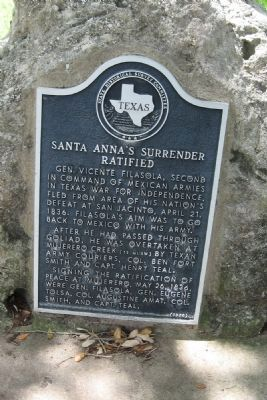 Santa Anna's Surrender Ratified Marker image. Click for full size.