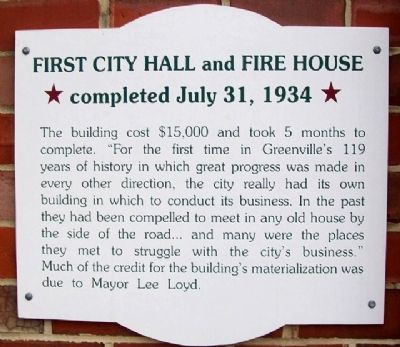 First City Hall and Fire House Marker image. Click for full size.