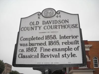 Old Davidson County Courthouse Marker image. Click for full size.