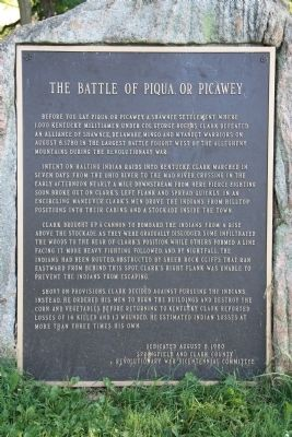 The Battle of Piqua, or Picawey Marker image. Click for full size.
