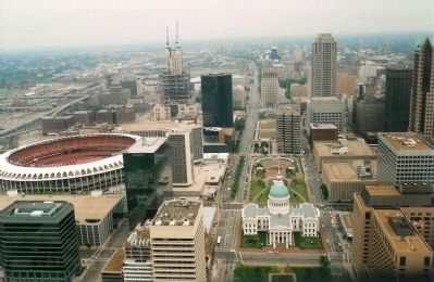 View overlooking St. Louis seen from The Gateway Arch, looking Southwestward image. Click for full size.