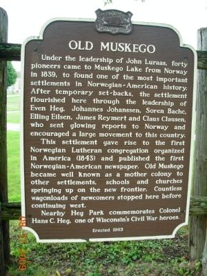 Old Muskego Marker image. Click for full size.